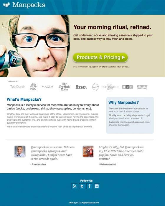 Скриншот посадочной страницы