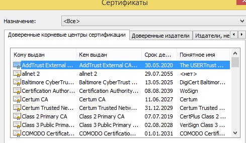 Доверенные корневые сертификаты