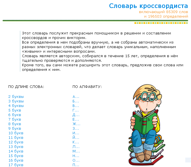 Словарь для блогового кроссворда